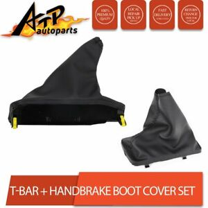 Black Leather Handbrake Cover + T Bar Handle Boot Cover for Falcon FG FGX 08-18
