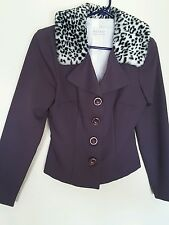 VTG XOXO PLUM COLORED FITTED LONG SLV SUIT JACKET BLAZER WITH FAUX FUR COLLAR ME