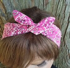 Wire headband Dolly Bow Flamingo Pink Handkerchief Bandanna Print Rockabilly