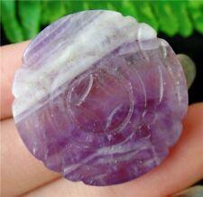 Natural Purple Brazil Amethyst Round Lucky Pendant Bead 30x4mm HP22545