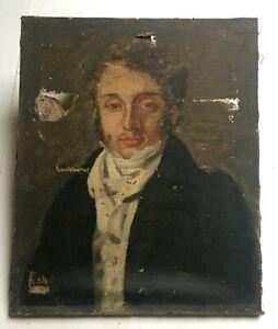 Tableau ancien à restaurer, Huile sur toile mauvais état, Portrait d'homme, XIXe