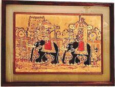 Elephants Art. Rare, Stunning India Original Cloth Painting. Gorgeous Frame.