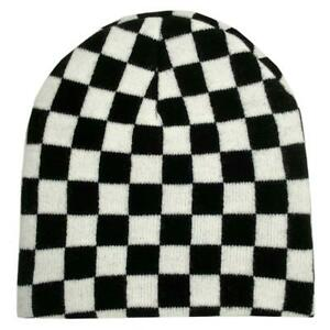 Black and White Checkered Beanie Knit Cap Winter Cold Weather Headwear One Size