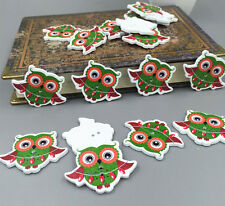 40pcs Merry Christmas Owl Wooden Sewing Buttons Scrapbooking Crafts 2 Holes 37mm