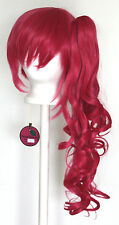 23'' Curly Pony Tail + Base Deep Pink Cosplay Wig NEW