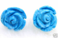 Exquisite Blue 10mm Rose Flower natural Turquoise earring &Silver925 stud-ear218