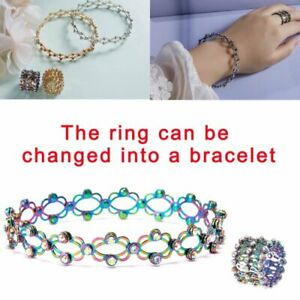 Fashion 925 Silver 2-in-1 Magic Retractable Ring Bracelet Valentine Day Gift Hot