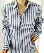 DKNY MENS SHIRT STRIPED COTTON BLUE WHITE WORK PARTY SLEEVES SZ M