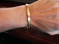 NEW WOMEN'S  GREEK KEY BANGLE BRACELET 18K YELLOW GOLD PLATED
