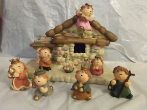 8 Piece Ceramic & Resin Christmas Lighted Nativity Set Figurines Complete In Box