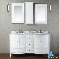 """BLOSSOM 60"""" ROME DOUBLE SINK BATHROOM VANITY WITH MARBLE TOP, WHITE COLOR"""