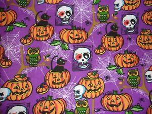 1 YARD Halloween Pumpkins Spider Web Purple Sewing Crafts Quilting Cotton Fabric