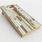 Skin Decal for Cornhole Game Board 2xpcs. / Beach Wood Panels Teal White Wash