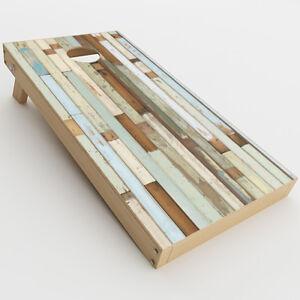 Skin Decal for Cornhole Game Board (2xpcs.) / Beach Wood Panels Teal White Wash