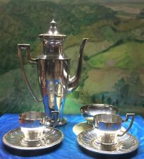 Antique 6 Piece Silver Tea Set With Miniature Cups and a Sugar Cube Bowl