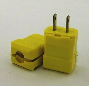 Hubbell 5865VY Yellow Nylon Valise Straight Blade Plug NEMA 1-15P (Box of 8)