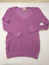Ann Taylor Loft Womens Purple Long Sleeves Open Knit Pullover Sweater Size M