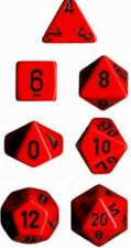 Chessex Dice Polyhedral 7 Die Set - Opaque Red / Black - DND / Roleplay etc