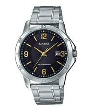 Casio MTP-VS02D-1A2 Men's Solar Powered Stainless Steel Black Dial Date Watch