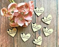 Wooden Wedding Confett Hearts Personalised Rustic Wedding Decor Table Confetti