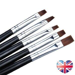 Set Of 5 Acrylic Nail Brushes UV Gel Nail Art Flat Brush Sizes 2 4 6 8 10 Kit UK