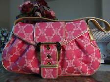 US seller Auth CELINE PINK CANVAS GOLD LEATHER SHOULDER PURSE BAG GOOD
