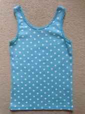 Girls Turquoise Polka Dot Cotton Vest Top (age 6-7)