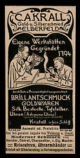 Alte Reklame 1898  C. A. Krall Gold- und Silberschmied Elberfeld Wuppertal