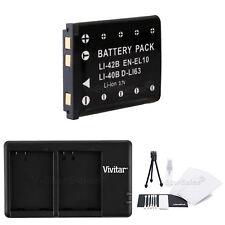 EN-EL10 Replacement Battery & USB Dual Charger for Nikon Coolpix S600 S3000