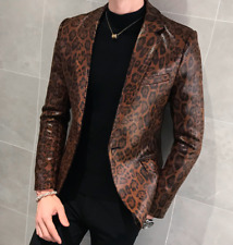Slim Mens Nightclun Blazer Coat Leopard Print One Button Hosting Jacket Casual