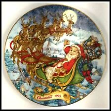 """Avon 1993 Christmas Plate """"Special Christmas Delivery"""" Porcelain trimmed in 22k"""
