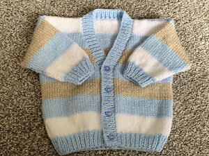 """Hand Knitted Boys Cardigan Size 20"""" Chest"""