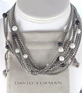 David Yurman Sterling Silver 18K Yellow Gold Black Onyx Pearl 8 Strand Necklace