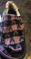 Sanuk  Kids Sleep Over Purple  sz 10 new w tag Checkered Fuzzy Shoes