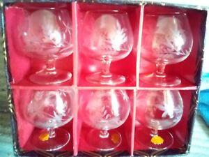 Set Of 6  Brandy/ Liqueur Glasses, New  in box