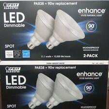 4 Pack Feit enhance Waterproof PAR38 Spot LED 11.1w 90w Replacement Bright White
