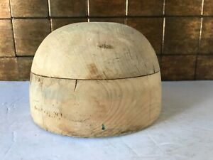 "Superb Wood Wooden Hat Block Head Style Form Display  Mold Millinery 20"" in"