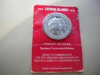 1972 25TH WEDDING ANNIV OF QEII & PRINCE PHILIP CAYMAN ISLANDS 45mm Unc $25 COIN