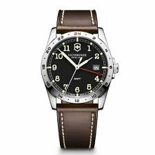 Victorinox Swiss Army 241648 Men's GMT Brown Leather Strap Watch - BRAND NEW!