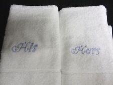 2 Serviettes, draps et gants de salle de bain blanc coton