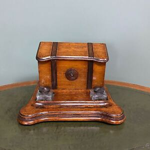 Victorian Oak Desktop Stationary Box