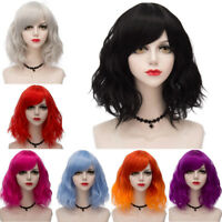 "14"" Lolita Medium Women Ombre Solid Color Bangs Bob Curly Costume Cosplay Wig"