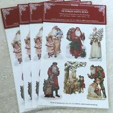 4 Sheets Packs Shackman Victorian Xmas Santa Claus Seals Stickers Embossed 1991