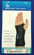 """New Medical Specialties 8"""" Black Suede Wrist Lacer Wrist Support Med Right Hand"""