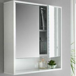 Norsk High Gloss Mirror Cabinet Bathroom Storage Bathroom Accessories  White