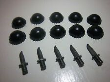 10x Lego City BLACK KNIT CAP Beanie for Minifigure Army Navy Seal Hat w 5 knives