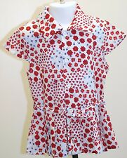 Girls 5-6 yr Long Blouse Short Dress Cotton Red Ditsy Floral Print Pleated Skirt