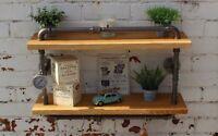 French Oak rustic industrial gauge steel pipe shelf steam punk shelving unit