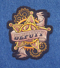 Western Steampunk DEPUTY Badge Embroidered Patch LARGE SIZE Black Gold Wild West