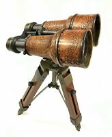 "Nautical 6"" Binocular Antique Table Top Brass Telescope with Wooden Tripod Stand"